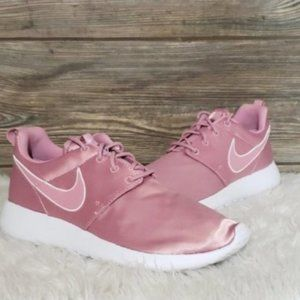 New Nike Roshe One Pink Satin Sneakers